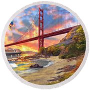 Sunset At Golden Gate Round Beach Towel by Dominic Davison