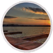Sunset Docks On Lake Oconee Round Beach Towel by Reid Callaway