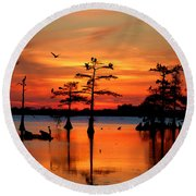 Sunset On The Bayou Round Beach Towel by Carey Chen