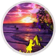 Sunset Over The Water While Children Play Round Beach Towel by Marvin Blaine