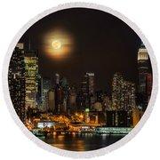 Super Moon Over Nyc Round Beach Towel by Susan Candelario