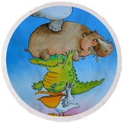 Super Mouse Pen & Ink And Wc On Paper Round Beach Towel by Maylee Christie