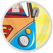 Superman 4 Round Beach Towel by Mark Ashkenazi
