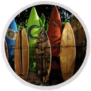 Surfboard Fence 4 Round Beach Towel by Bob Christopher