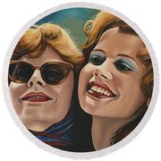 Susan Sarandon And Geena Davies Alias Thelma And Louise Round Beach Towel by Paul Meijering