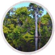 Swamp Land Round Beach Towel by Carey Chen