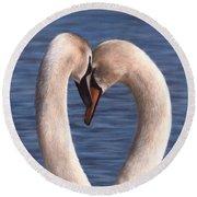Swans Painting Round Beach Towel by Rachel Stribbling