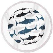 Swimming Blue Sharks Around The Globe Round Beach Towel by Amy Kirkpatrick