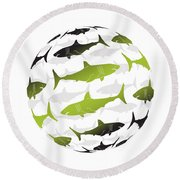 Swimming Green Sharks Around The Globe Round Beach Towel by Amy Kirkpatrick