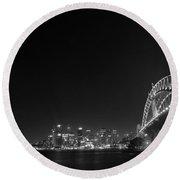 Sydney By Night Black And White Round Beach Towel by Kaleidoscopik Photography