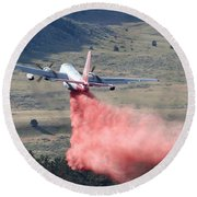 Round Beach Towel featuring the photograph Tanker 45 Dropping On Whoopup Fire by Bill Gabbert