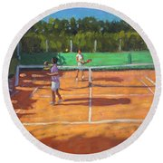 Tennis Practice Round Beach Towel by Andrew Macara