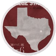 Texas A And M University Aggies College Station College Town State Map Poster Series No 106 Round Beach Towel by Design Turnpike