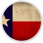 Texas State Flag Lone Star State Art On Worn Canvas Round Beach Towel by Design Turnpike