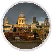 Thames With St Paul's Panorama Round Beach Towel by Gary Eason