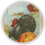 Thanksgiving Postcards I Round Beach Towel by Wild Apple Portfolio