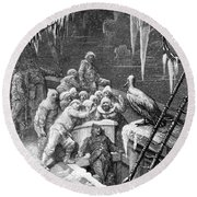 The Albatross Being Fed By The Sailors On The The Ship Marooned In The Frozen Seas Of Antartica Round Beach Towel by Gustave Dore