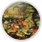The Animals Entering The Ark Round Beach Towel by Jacob II Savery