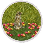 The Apple Mouse Round Beach Towel by Ditz