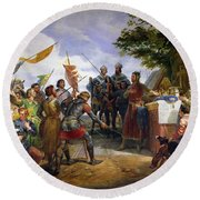The Battle Of Bouvines Round Beach Towel by Emile Jean Horace Vernet