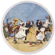 The Battle Of The Nile, From The Light Round Beach Towel by Lance Thackeray