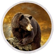 The Bear Went Over The Mountain Round Beach Towel by Lois Bryan