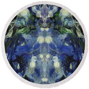 The Blue Beetle  Round Beach Towel by Dan Sproul