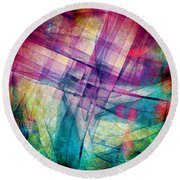 The Building Blocks Round Beach Towel by Angelina Vick