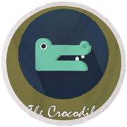 The Crocodile Cute Portrait Round Beach Towel by Florian Rodarte