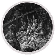 The Dead Sailors Rise Up And Start To Work The Ropes Of The Ship So That It Begins To Move Round Beach Towel by Gustave Dore
