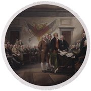 The Declaration Of Independence, July 4, 1776 Round Beach Towel by John Trumbull