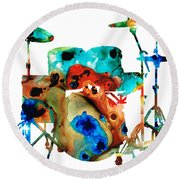 The Drums - Music Art By Sharon Cummings Round Beach Towel by Sharon Cummings