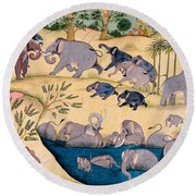 The Elephant Hunt Round Beach Towel by Indian School