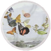The Fairy Queen's Carriage Round Beach Towel by Richard Doyle