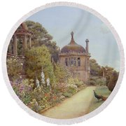 The Gardens At Montacute In Somerset Round Beach Towel by Ernest Arthur Rowe