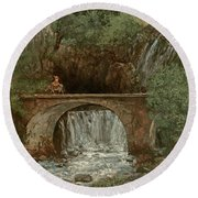 The Great Bridge, 1864 Round Beach Towel by Gustave Courbet