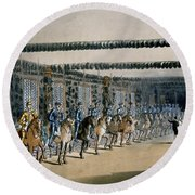 The Horse Armour Tower, Print Made Round Beach Towel by T. & Pugin, A.C. Rowlandson