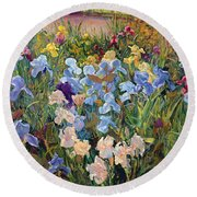 The Iris Bed Round Beach Towel by Timothy Easton