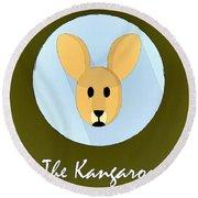 The Kangaroo Cute Portrait Round Beach Towel by Florian Rodarte