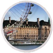 The London Eye And County Hall Round Beach Towel by Rod McLean