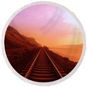The Long Walk To No Where  Round Beach Towel by Jeff Swan