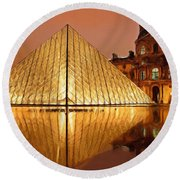 The Louvre By Night Round Beach Towel by Ayse Deniz