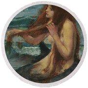 The Mermaid Round Beach Towel by John William Waterhouse