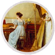 The Music Room Round Beach Towel by George Goodwin Kilburne