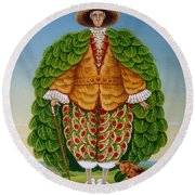 The New Vestments Ivor Cutler As Character In Edward Lear Poem, 1994 Oils And Tempera On Panel Round Beach Towel by Frances Broomfield