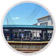 The Old And New Yankee Stadiums Panorama Round Beach Towel by Nishanth Gopinathan