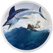 The Old Man And The Sea Round Beach Towel by Harry G Seabright
