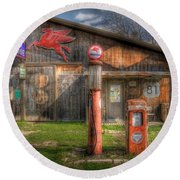 The Old Service Station Round Beach Towel by David and Carol Kelly