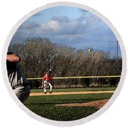 The Pitch With Watercolor Effect Round Beach Towel by Frank Romeo
