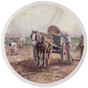 The Potato Pickers Round Beach Towel by Harry Fidler